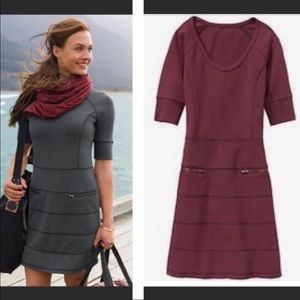 Athleta Strata maroon ponte dress pockets sz large